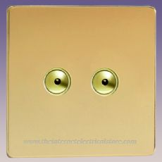 V-Pro IR, 2 Gang, 100 Watt IJ Remote Control/Touch LED Dimmer, Screwless Polished Brass - IJDVI102S